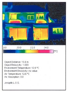 Colour Image, with explanatory Text and Horizontal Temperature Bar below, showing the 'Real' Energy Performance of a Building. Click to enlarge. Project Architect: CJ Walsh. Image taken by sub-contractor in 1998.