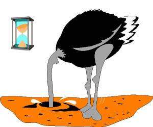 Colour Clip Art Image of an Ostrich, with head deeply embedded in sand. Meanwhile, in the background, an hourglass signals that time is running out !