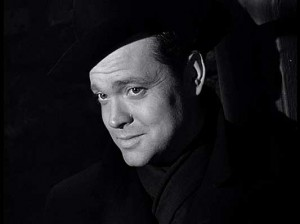 Black and white image of the film character 'Harry Lime', played by Orson Welles, in a key scene late in the film when he is first seen. Click to enlarge.