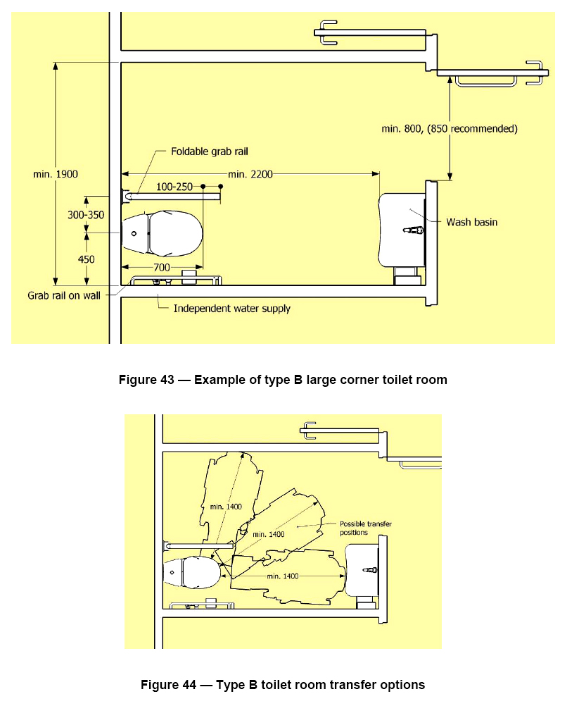 dimensions of a disabled toilet. 2 colour drawings showing  on top an Accessible Toilet Facility with corner WC Disability Access Certificates Facilities