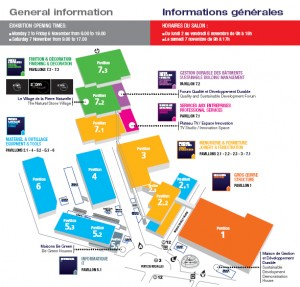 Annotated, colour image showing the 2009 Paris BATIMAT Exhibition Site Layout and general information about dates (2-7 November), opening times (every morning, from 09.00 hrs), etc. Click to enlarge. Extract from Official Exhibition Catalogue.