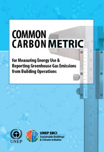 Colour image showing the cover page of the UNEP-SBCI 'Common Carbon Metric', recently published in December 2009.  Click to enlarge.