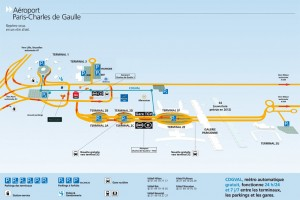 Colour image showing the Airport Complex Plan of Roissy Charles De Gaulle in Paris. Note the New CDGVAL Métro ... an important interconnecting transportation system. Click to enlarge.