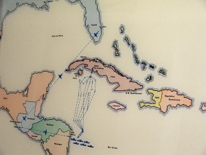 Colour photograph showing the elaborate and circuitous route taken by the 1961 U.S. Invasion Force from Florida to the Bay of Pigs (Bahia de Cochinos), in Cuba. From a display at Girón Museum. Photograph by CJ Walsh. 2007-04-13. Click to enlarge.