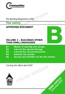 Colour image showing the Cover Page of Approved Document B: 'Fire Safety' ... Volume 2 - Buildings Other Than Dwellinghouses ... from the Building Regulations for England & Wales. Click to enlarge.