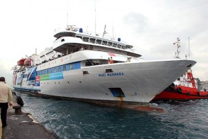 Colour photograph showing the MV Mavi Marmara aid-carrying ship leaving the port of Antalya, in Southern Turkey ... on 22 May 2010 ... for Gaza, in Palestine.