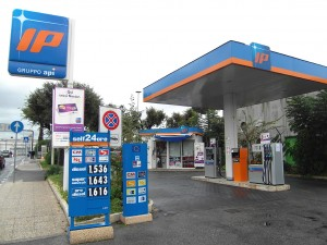 Colour photograph showing the prices of different grades of petrol and diesel at a Petrol Station in Rome's Ciampino Airport, in Italy. Photograph by CJ Walsh. 2011-10-26. Click to enlarge.