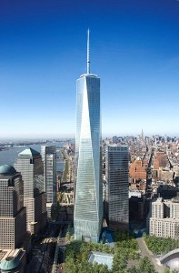 Colour image showing the One World Trade Center Project, in New York City (USA) ... which will be completed in 2013. Design by Skidmore Owings & Merrill, Architects/Planners, USA. Click to enlarge.