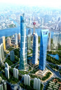 Colour image showing the Shanghai Tower Project, in China ... which will be completed in 2014. Design by Gensler Architects & Planners, USA. Click to enlarge.