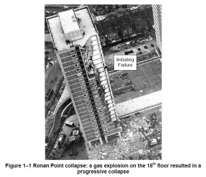 Black and white image reproducing Figure 1-1 in NIST Report: 'Best Practices for Reducing the Potential for Progressive Collapse in Buildings' (NISTIR 7396, February 2007) ... showing a bird's eye view of the Disproportionate Damage at Ronan Point, in England, which was caused by a gas explosion in 1968. Click to enlarge.