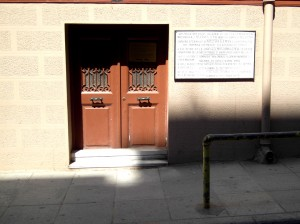 Colour photograph showing the exterior view of the Front Door and Large Commemorative Plaque from the street. Access to the house is through the Turkish Chancellery around the corner. Photograph taken by CJ Walsh. 2012-04-24. Click to enlarge.