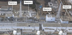 Colour photograph showing a Birdseye View of the Fukushima Nuclear Reactors after the 2011 Explosions. Click to enlarge.