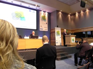 Colour photograph showing Tánaiste Eamon Gilmore delivering a Keynote Address, from the podium, at the 2012 Dublin IIEA/TEPSA Irish EU Presidency Conference. In the Chair - looking very pensive - is Mr. Dáithí O'Ceallaigh, Director General of the IIEA. Photograph taken by CJ Walsh. 2012-11-23. Click to enlarge.