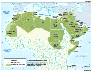 Colour image showing a Map of the Middle East & North Africa (MENA) / Arab Region. Click to enlarge.