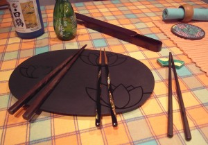 Array of Japanese Chopsticks (Hashi), with Accessories