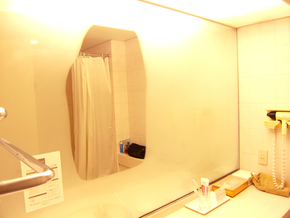 heated bathroom mirror and a facility to alter spray water pressure and pattern 13094