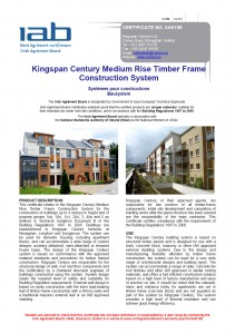 Front Page of IAB Certificate No.04/0198 (rev.2007) - Kingspan Century Medium Rise Timber Frame Construction System