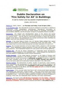 Proposed 2015 Dublin Declaration on 'Fire Safety for All' in Buildings
